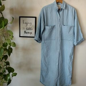 Zara Trafaluc Chambray midi shirtdress Stripe XS